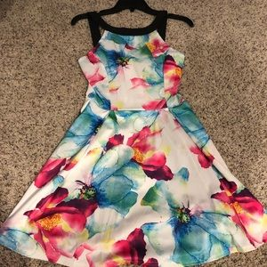 Neon and white floral dress